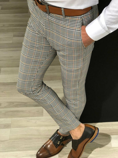 Stylish Men Slim Fit Striped Business Pants - American stock