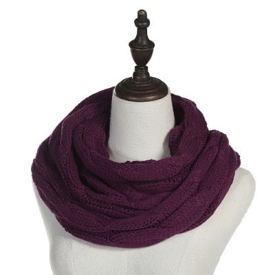 Solid Knitted Wool Ring Scarf -Neck Circle - American stock