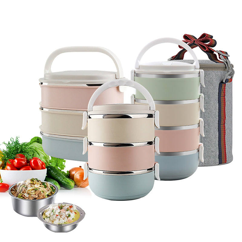 Portable Stainless Steel Leakproof Thermal Lunch Boxes - American stock