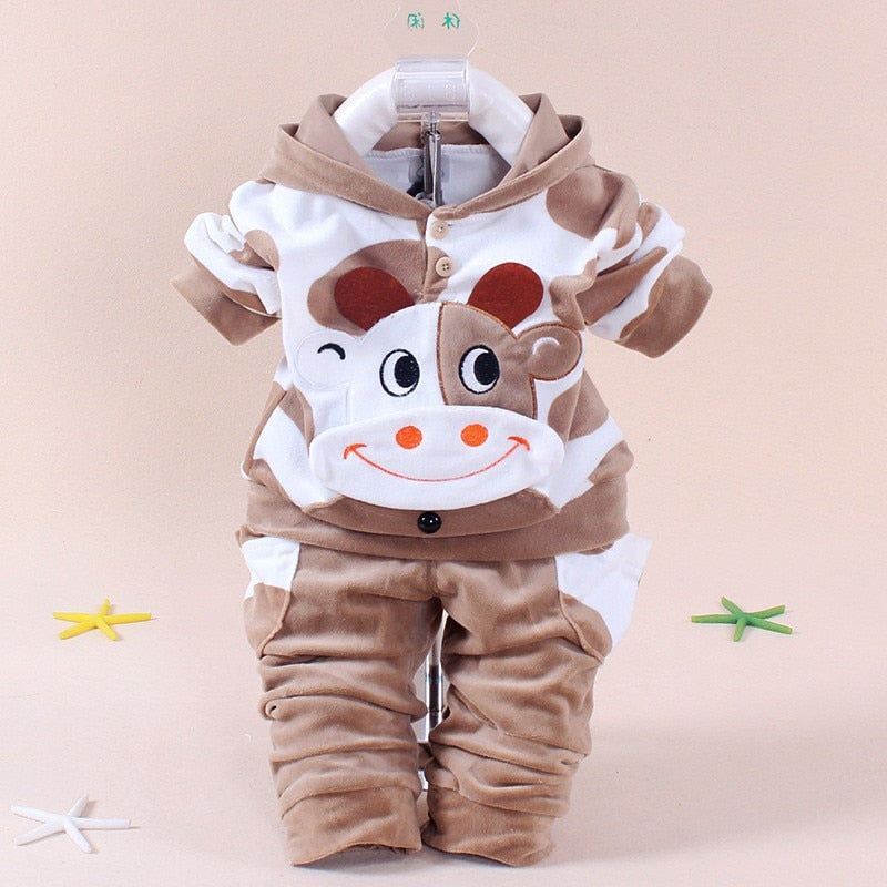 2PCS Unisex Winter Baby Cow Tracksuit - American stock