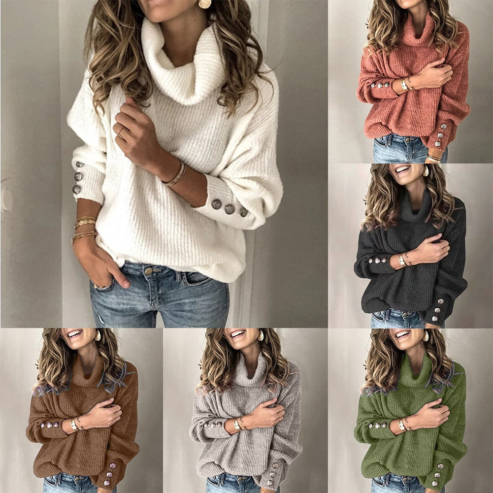 Women's Fashion High Collar Winter Knit Sweater - American stock