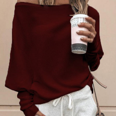 Sweater Sexy Women Sweaters Solid Color Off Shoulder Long Sleeve - American stock