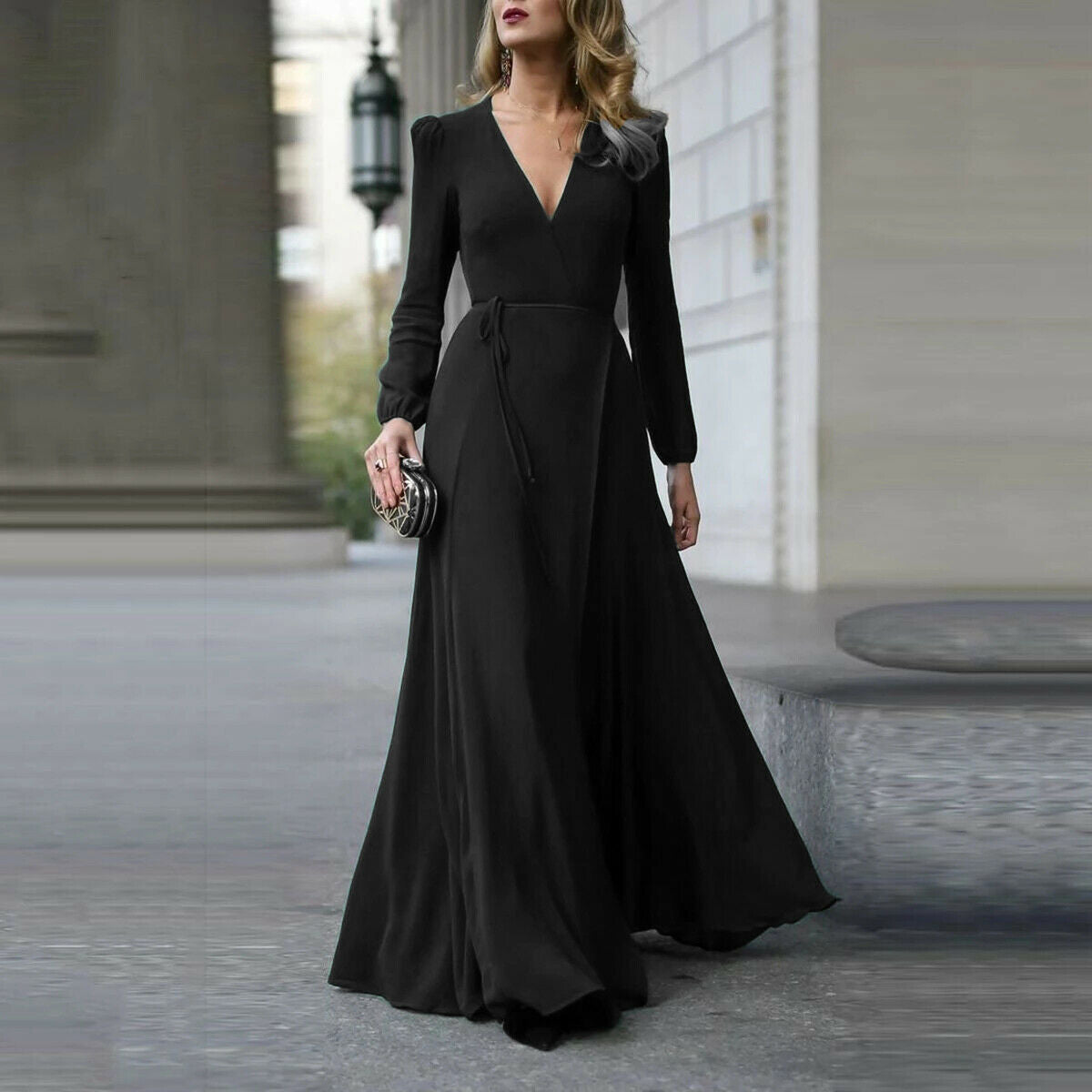 Elegant Women's Long Bodycon Dress with Sleeves - American stock
