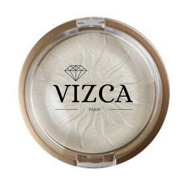 """ WHITE PEARL "" GLOWING DAY - Highlighter. Poudre Compacte Minérale - Vizca Cosmetics Paris"