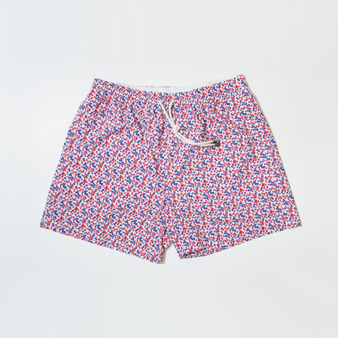 Blue and Red Floral Swim Short