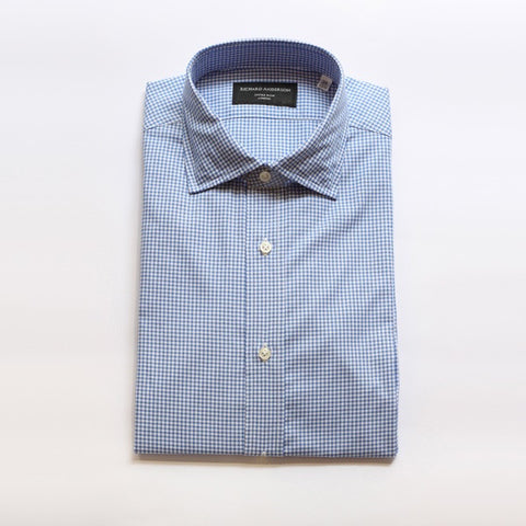 Light Blue Dice Check Poplin Shirt with Single Cuff