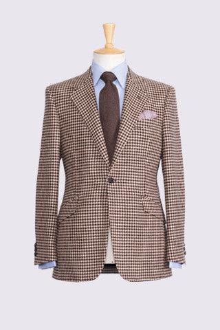 Brown Hounds Tooth Check on Oatmeal Ground Lambswool