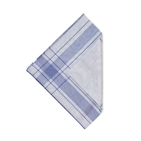 Denim/Blue Cotton Handkerchief with Hand Rolled Edge