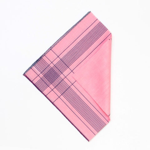 Fuschia/Navy Cotton Handkerchief with Hand Rolled Edge