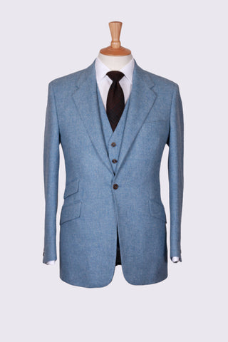 Blue Diagonal Tweed Three Piece Suit