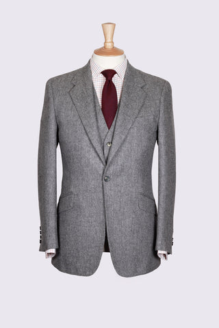 Grey Cheviot Three Piece Tweed Suit
