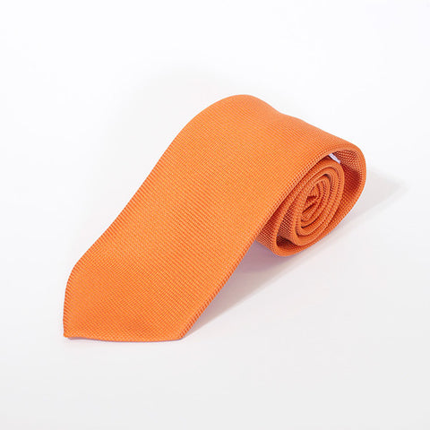 Orange Plain Silk Tie