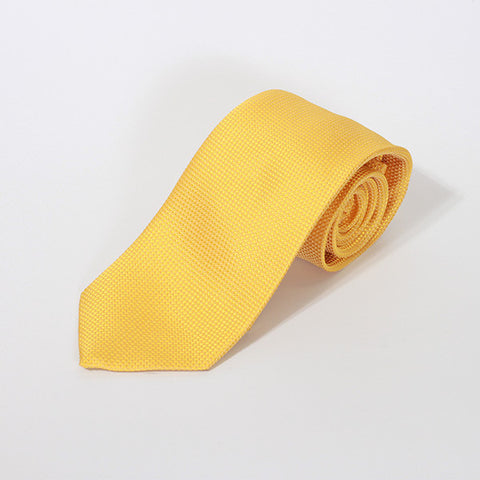Yellow Plain Silk Tie
