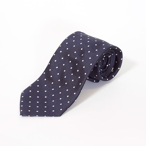 Navy Large Polka Dot Silk Tie