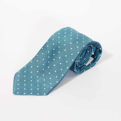 Teal Large Polka Dot Silk Tie
