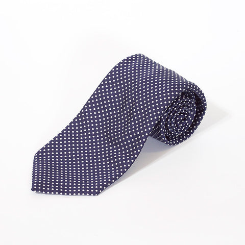 Navy Small Polka Dot Silk Tie