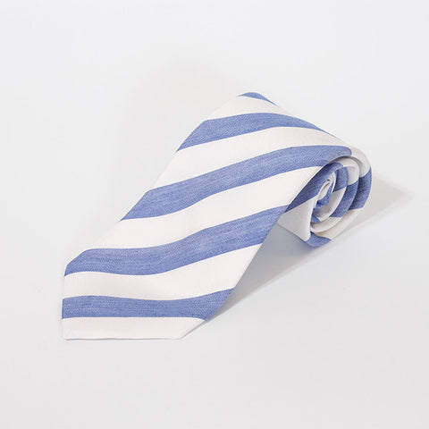 White and Blue Stripe Silk and Linen Tie