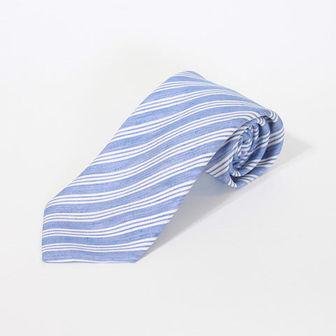 Blue Tri-Stripe Silk and Linen Tie