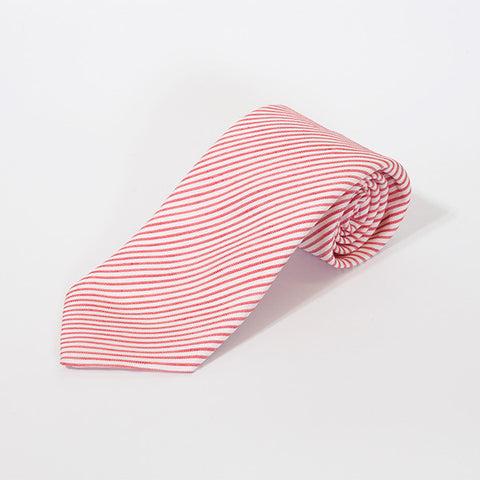 Red and White Fine Stripe Silk and Linen Tie