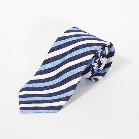 Blue, Navy and White Stripe Silk Tie