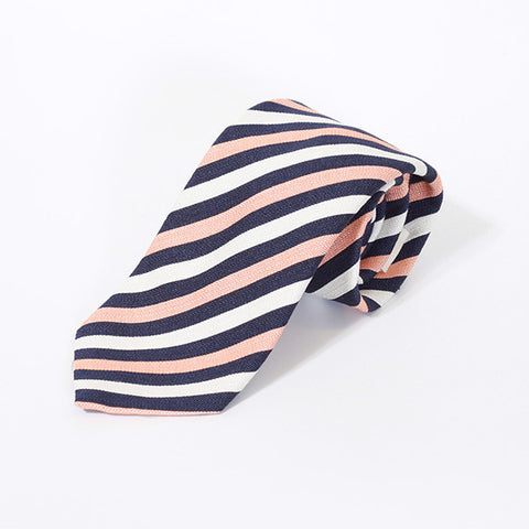 Peach, Navy and White Stripe Silk Tie