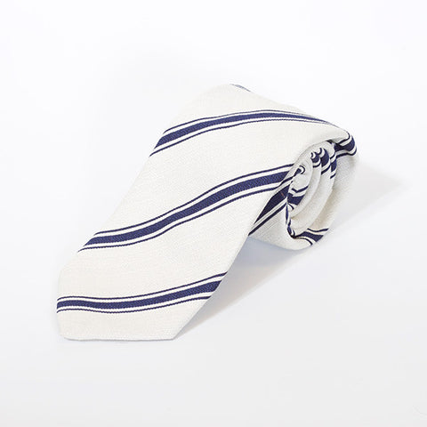 White with Navy Stripe Silk and Linen Tie