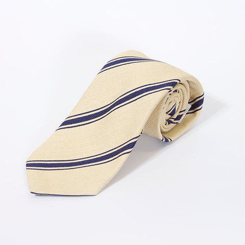 Lemon with Navy Stripe Silk and Linen Tie