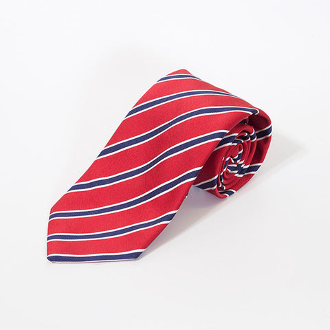 Red and Navy College Stripe Silk Tie