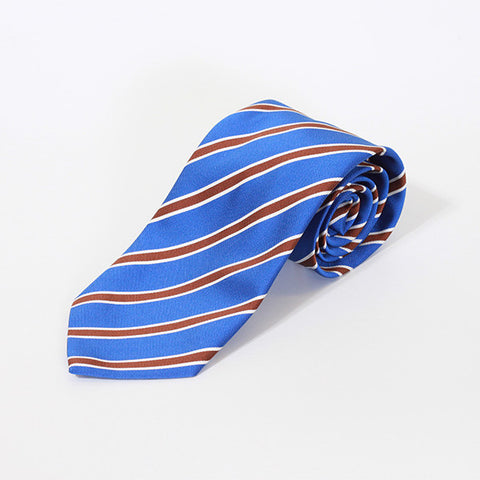 Blue and Red College Stripe Silk Tie