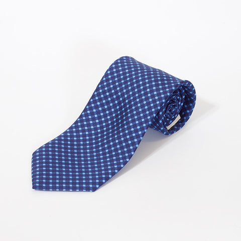 Navy and Blue Diagonal Printed Silk Tie