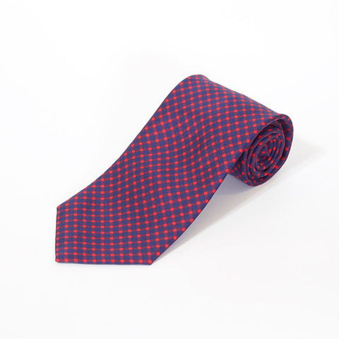 Red and Navy Diagonal Printed Silk Tie