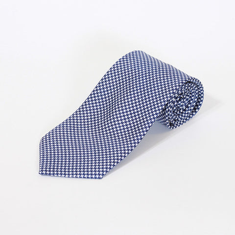 Navy Houndstooth Printed Silk Tie