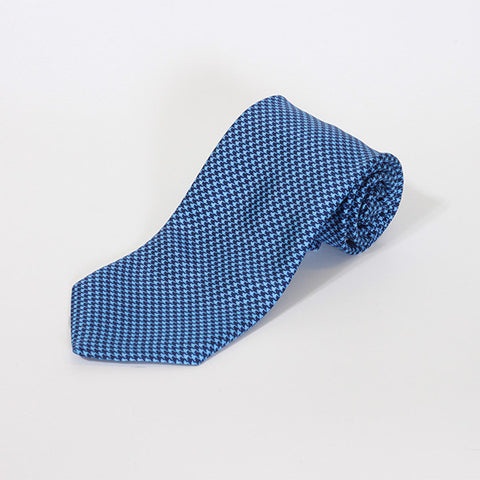Blue Houndstooth Printed Silk Tie