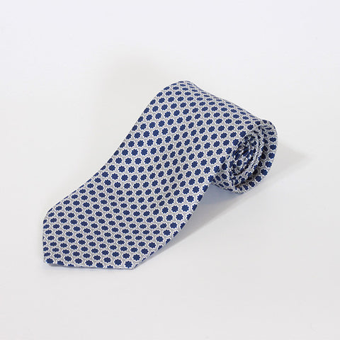 Grey with Navy Star Printed Silk Tie
