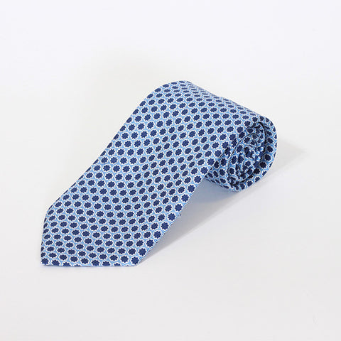 Blue with Navy Star Printed Silk Tie