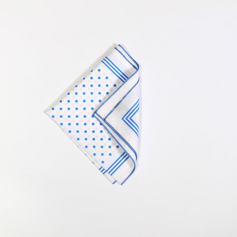 White with Blue Polka Dot Cotton Handkerchief