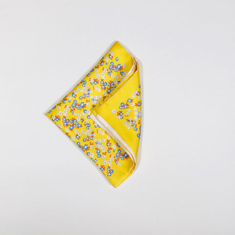 Yellow Floral Silk Handkerchief