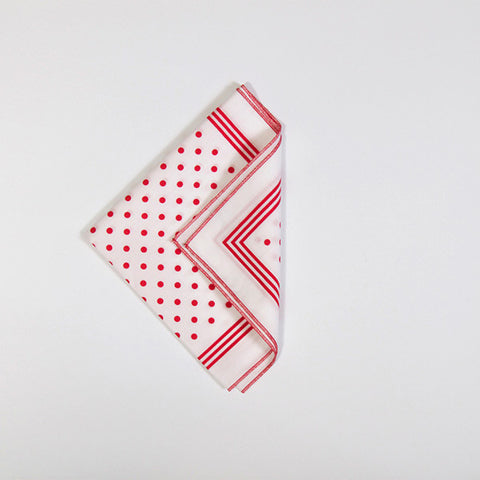 White with Red Polka Dot Cotton Handkerchief