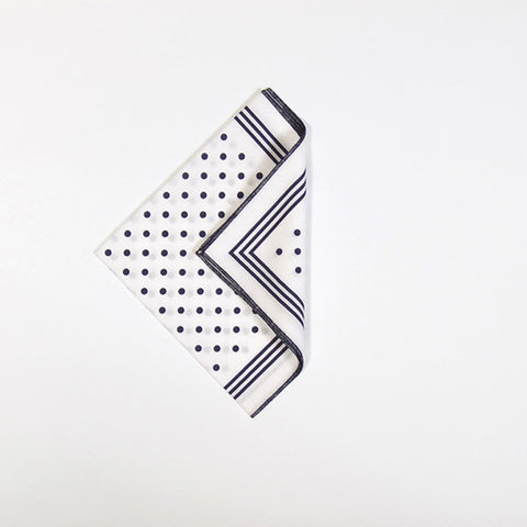 White with Navy Polka Dot Cotton Handkerchief