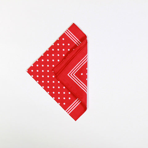 Red with White Polka Dot Cotton Handkerchief