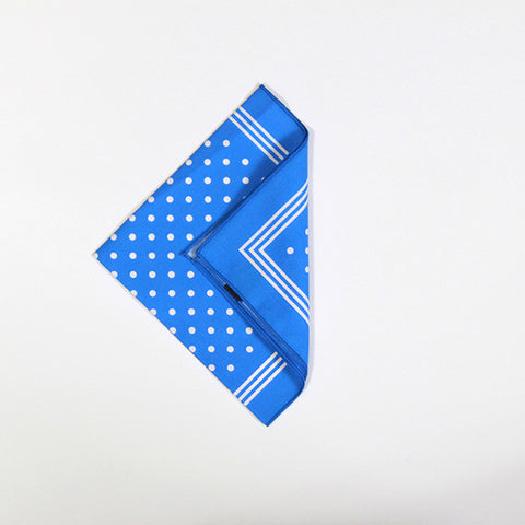 Blue with White Polka Dot Cotton Handkerchief