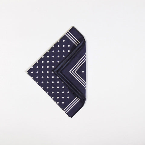 Navy with White Polka Dot Handkerchief
