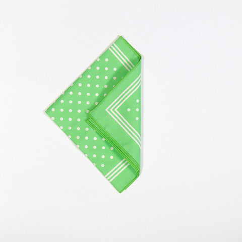 Green with White Polka Dot Cotton Handkerchief