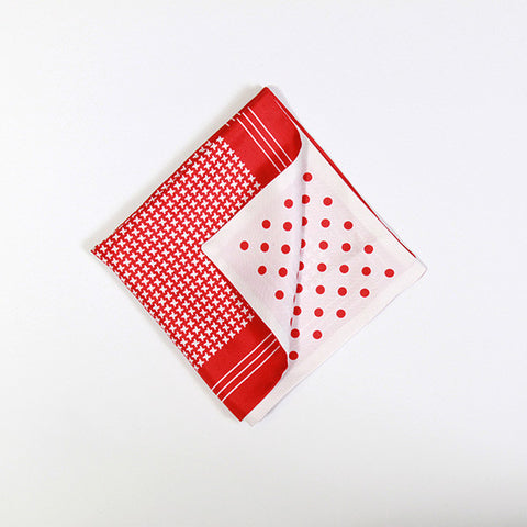 Red and White Polka/Houndstooth Silk Handkerchief