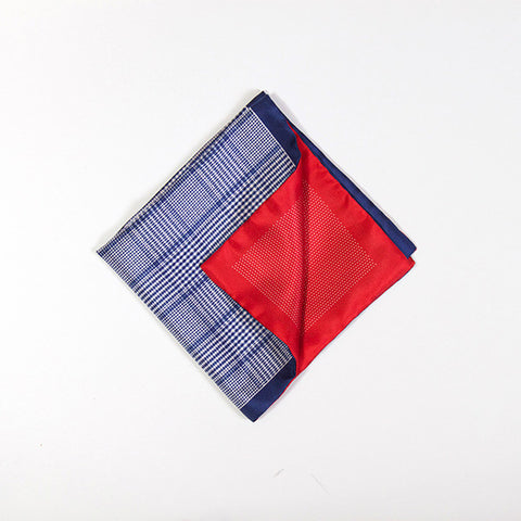 Blue and Red Polka/Check Silk Handkerchief
