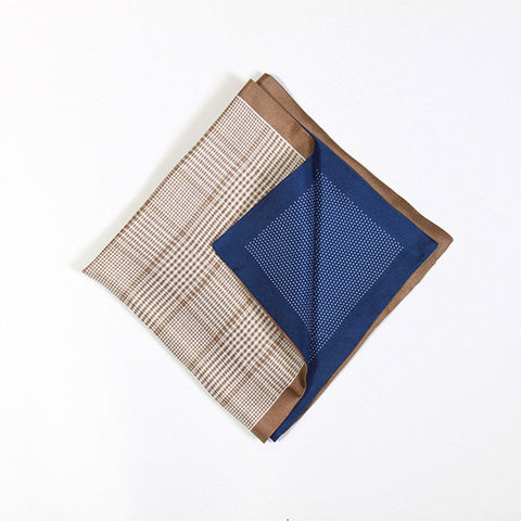 Caramel and Navy Polka/Check Silk Handkerchief