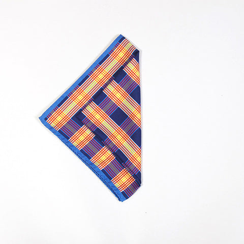 Navy Multicolored Check Silk Handkerchief