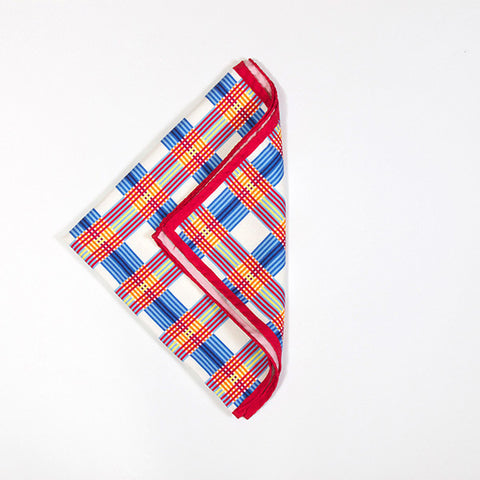 White Multicolored Check Silk Handkerchief