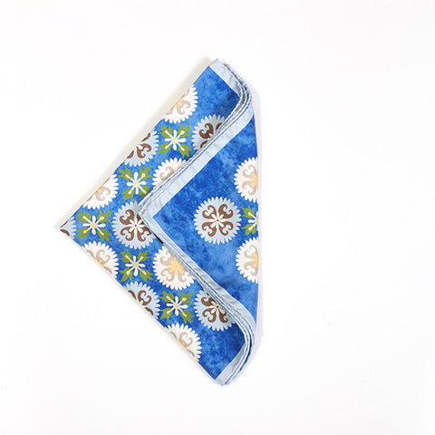 Blue Fancy Print Silk Handkerchief