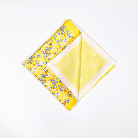 Lemon Floral Silk Handkerchief